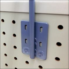Push Pin Safety Restraint is the stop that keeps a long Sign Arm Mount from being bumped or jostled out of position on the Pegboard Retail Fixtures, Point Of Purchase, Power Strip, Arm, Display, Detail, Signs, Button, Color