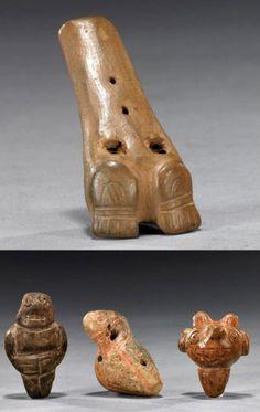 4 Pre-Columbian Chavin Whistles / Ocarinas