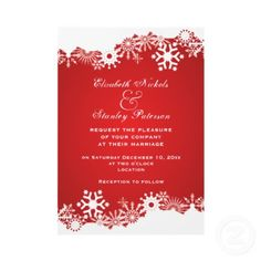 Snowflake red white winter wedding invitation from http://www.zazzle.com/snowflake+wedding+invitations