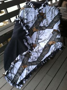 Winter camo/charcoal fleece tie blanket