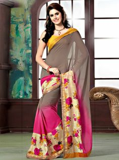 Shop this Product from Here..   http://www.silkmuseumsurat.in/sarees/self-print-and-floral-satin-print-patta-multicolored-saree Item #: 3045  Color : Cream, Pink Fabric : Art Silk, Faux Georgette Occasion : Reception, Wedding Style : Contemporary Work : Printed