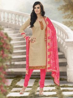 Cream Cotton Suit with Lace Work