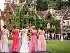 British style wedding with bridesmaids in #dessygroup gowns in different tones.   #bridalparty #bridal #bride #bridesmaids #bridesmaidsdresses #patsbridals #bridesmaiddress #wedding #miamiwedding #miamibride