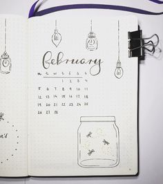 Bullet journal monthly cover page, February cover page, fireflies in a jar drawing, lightbulb drawings. | @nordic.notes