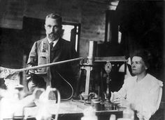 Pierre Curie and Marie Curie    Scientific revolutionaries Pierre and Marie Curie started out as research lab partners. During their pioneering studies they discovered Polonium, Radium, and an affinity for… bicycles! (It was how they spent their honeymoon.) Marie arrived in Paris to study math and physics, spending her days at lectures. After earning her degrees she intended on returning to Poland, but met Pierre. Their magnetism in and out of the lab led to a Nobel Prize in Physics,