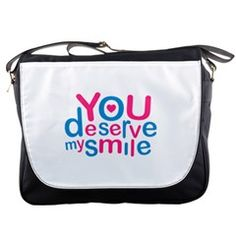 You Deserve My Smile Typographic Design Love Quote Messenger Bag from cowcow Show your positive thinking and share the joy of living with this sweety colorful love to family or couple or even friendship concept quote messenger bag typographic design in colorful scheme against white background.  #messengerbags love quote,  typographic design messenger bags, sweety messenger bags, #girly messenger bags, messenger bags for sale, messenger bags online, messenger bags shop online
