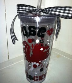 Perfect for tailgating at the Rocket!!  20oz GAMECOCK acrylic tumbler with lid and by TextuallyPreppy, $18.00