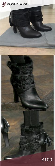 Ralph Lauren Collection Runway Fur Tie Booties Black fur trimmed ankle boots with leather wraparound tie from Ralph Lauren Collection, Runway style, size US 7, D width (super comfortable wide fit but doesn't look wide at all), ~4 inch heel height, unique triangular shaped heel (very stable), leather tassels at back, do not have original box but does come with dust bag, great condition Ralph Lauren Shoes Ankle Boots & Booties