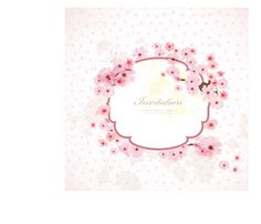 Pink flower invitation background vector material 02