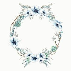 Maggie Part of the Инстаграм фото Wreath Watercolor, Watercolor Flowers, Watercolor Art, Flower Backgrounds, Wallpaper Backgrounds, Iphone Wallpaper, Frame Floral, Flower Frame, Deco Floral