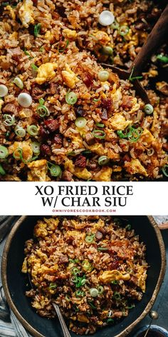 Dig into a bowl of XO fried rice with a crispy, crunchy texture and savory sweet, lightly seafoody taste that transforms your leftover char siu pork into a meal in minutes! Asian Dinner Recipes, Supper Recipes, Pork Recipes, Lunch Recipes, Asian Recipes, Rice Recipes, Healthy Recipes, Ethnic Recipes, Chinese Recipes