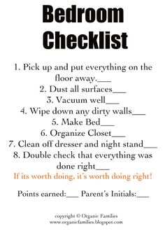 cleaning check lists!