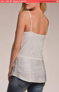 30% Sale, Spaghetti Strap Top, Singlet, White Tank Top, Minimalist Fashion, White Tunic, Summer Tops, White Shirt Women, Casual Shirts, C... Casual Tops, Casual Shirts, White Shirts Women, Spaghetti Strap Top, White Tunic, Modern Outfits, Summer Tops, White Tops, Minimalist Fashion