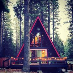 We've rounded up 23 gorgeous photos of A-frames, from lakeside stunners to snowbound charmers. A Frame Cabin, A Frame House, Shed To Tiny House, Cabin Design, House Design, Cabin Homes, Cabins In The Woods, Life Is An Adventure, Interior Design Living Room
