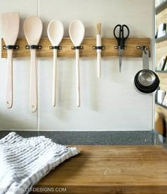 Cut up soda cans to make these 13 decor ideas for your home Everything down to the utensils should be properly organized in your kitchen. Here are some ideas for the right utensil holder for your home on Hometalk! Kitchen Utensil Organization, Utensil Racks, Kitchen Utensil Holder, Utensil Organizer, Organization Ideas, Wooden Utensil Holder, Storage Ideas, Tool Storage, Diy Storage