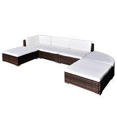 vidaXL 16 Piece Poly Rattan Garden Furniture Set Stool Seat Chair Cushion Outdoor Patio