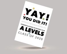 Class of 2020 A Levels exam congratulations card - for the year when no one actually took their exams!   #alevels #alevels2020 #exams #congratulationscard #youdidit #classof2020 #graduation