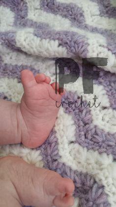 Shooting Stars Crochet Baby Blanket Chevron by PudgeFudgeCrochet