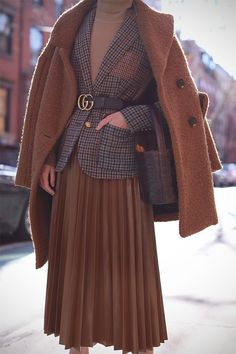 Stylish plaid jacket with belt and long skirt. This outfit looks so stylish and practical. good for work or going out.