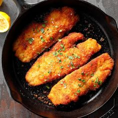 """Honey Walleye Recipe -Our state is known as the """"Land of Lakes"""", so fishing is a favorite recreation here. This recipe is a quick way to prepare all the fresh walleye that's hooked by the anglers in our family. Cast Iron Skillet Cooking, Iron Skillet Recipes, Cast Iron Recipes, Skillet Meals, Fish Dishes, Seafood Dishes, Seafood Recipes, Main Dishes, Cooking Recipes"""