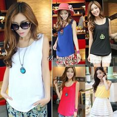 Womens Soldi Candy Tank Tops Chiffon Basic Sleeveless Tank Vest Shirt Blouse Uta