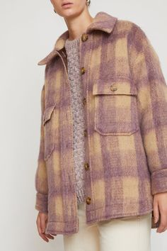 Image of Wilson Jacket in Violet Plaid Mohair Casual Outfits, Fashion Outfits, Womens Fashion, Winter Collection, Shirt Jacket, Playing Dress Up, Style Me, Winter Fashion, Plaid