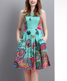 Look what I found on #zulily! Aqua & Pink Paisley Sleeveless Fit & Flare Dress #zulilyfinds