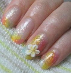 Summer gel nails (flower)