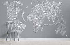 If you're looking for a more unusual map wallpaper design, this grey typography map wallpaper is a bespoke style. World Map Wallpaper, Normal Wallpaper, Standard Wallpaper, How To Hang Wallpaper, Photo Wallpaper, Room Wallpaper, Typography Wallpaper, Beautiful Bathrooms, Home Improvement Projects