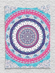 Ethnic Tribal Indian Nepal Bohemian Hippie Hippy Yoga Zen Circle Pattern Life Cycle Mandala Digital Printed Tapestry Wall Art Hanging Wall Tapestry Living Room Bedroom Decor, Fuchsia Blue Navy White * To view further for this item, visit the image link. Hanging Wall Art, Tapestry Wall Hanging, Wall Hangings, Yoga Zen, Bohemian Bedspread, Bedroom Decor For Teen Girls, Indian Mandala, Mandala Tapestry, Tapestry Beach