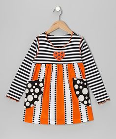 Take a look at this Orange & White Stripe Pocket Swing Top - Toddler & Girls by Mis-Tee-V-Us on #zulily today!