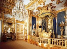 The Bedchamber of King Ludwig II at Herrenchiemsee Palace in Herreninsel, Bavaria, Germany