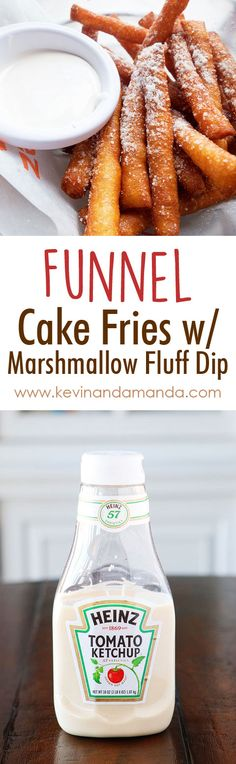 - OMG these are Funnel Cake FRIES with Marshmallow Fluff Dip! Super easy… OMG these are Funnel Cake FRIES with Marshmallow Fluff Dip! Super easy method, what a great idea! by aisha Köstliche Desserts, Delicious Desserts, Yummy Food, Food Deserts, Easy Delicious Recipes, Healthy Food, Funnel Cake Fries, Funnel Cakes, Dessert Crepes