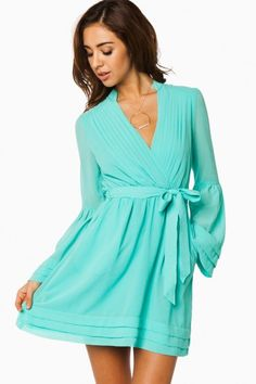 Rorey Wrap Dress in Mint