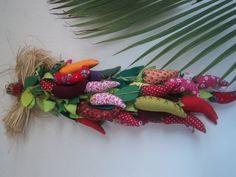 cacho de Pimenta colorido de tecido