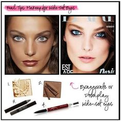 Wide-Set eyes may be a beauty ideal, but there are women who would like to minimize the space for a more balanced look. simply adjust your eye makeup Red Lipstick Makeup, Eye Makeup, Makeup Tips, Wide Set Eyes, Make Your Own Calendar, Acai Smoothie, Preschool Snacks, Fun Worksheets, Beauty Hacks Video