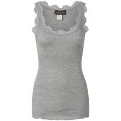 Rosemunde Silk Blend Lace Vest - Light Grey ($67) ❤ liked on Polyvore
