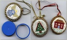 DIY Cross Stitch Bottle Cap Ornaments or Jewelry. Bottle caps from milk, orange juice etc… serve as the base for these. I've seen these on Etsy as pendants and brooches going quite high prices and always wondered how I could this. Now I know. Tutorial from Julia's Place here.