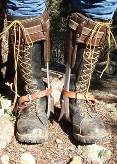 Lineman Boots with 'hooks' / spike climbers . Lineman Love, Power Lineman, Electrical Lineman, Journeyman Lineman, Tall Boots, Men's Boots, Vintage Telephone, Real Leather, Combat Boots