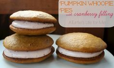 Pumpkin Whoopie Pies with Cranberry Filling by A Turtle's Life for Me