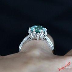 Lotus Flower Caribbean Sea Spinel & Diamond Engagement Ring