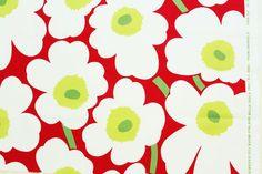 Marimekko fabric, red/white/green Pieni Unikko, 145x50cm
