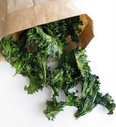 Ingredients  - 1 bunch kale  - 1-2 tsp olive oil  - sprinkle of course salt    Directions    Preheat oven to 350 degrees.  Wash kale and break into bite sized pieces.  Toss with olive oil and bake in oven for approximately 15 minutes until kale is crispy and edges are slightly brown.  Sprinkle with salt immediately.