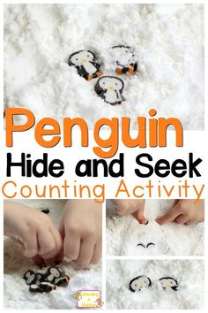 Preschoolers will love these fun penguin preschool activities playing hide and seek with penguins in fake snow. Sensory play and learning! Sensory Activities, Preschool Activities, Sensory Play, Sensory Bins, Polar Animals Preschool Crafts, Sensory Table, Winter Activities For Kids, Preschool Winter, Weather Activities