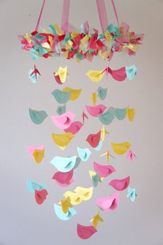 Bird Mobile Pink Yellow Aqua for Baby Nursery by LoveBugLullabies
