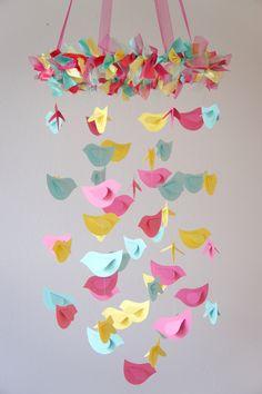 Bird Mobile Pink Yellow Aqua for Baby Nursery by LoveBugLullabies