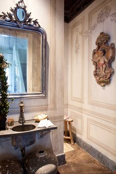 Garden, Home and Party: Neutral rooms Powder Room Paint, Powder Rooms, Beautiful Bathrooms, Decoration, Cottage, House Design, Flooring, Interior Design, French Country