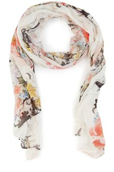 Wrap up in this lightweight scarf featuring a bold all-over floral print #WAREHOUSEWISHLIST