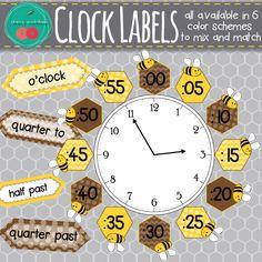 Clock Labels • Bees Classroom Decor