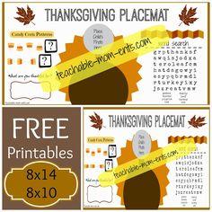 FREE #Printable #Thanksgiving Placemat   Teachable-Mom-ents.com